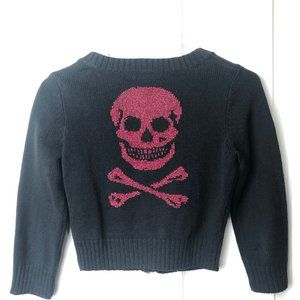 Betsey Johnson Black Red Skull Cardigan Sweater S